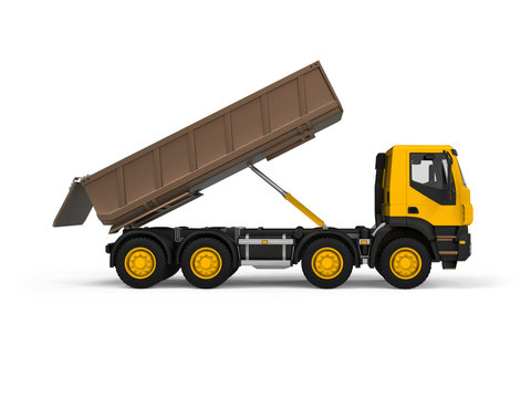 Generic dump truck with yellow cabin, right view, photorealistic 3D Illustration, isolated on the white background.