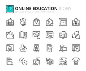 Simple set of outline icons about online education.