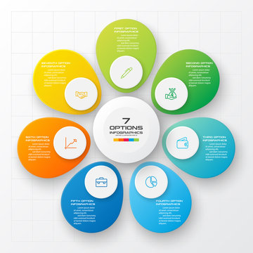 Business infographics 7 steps,Abstract design element,Vector illustration.