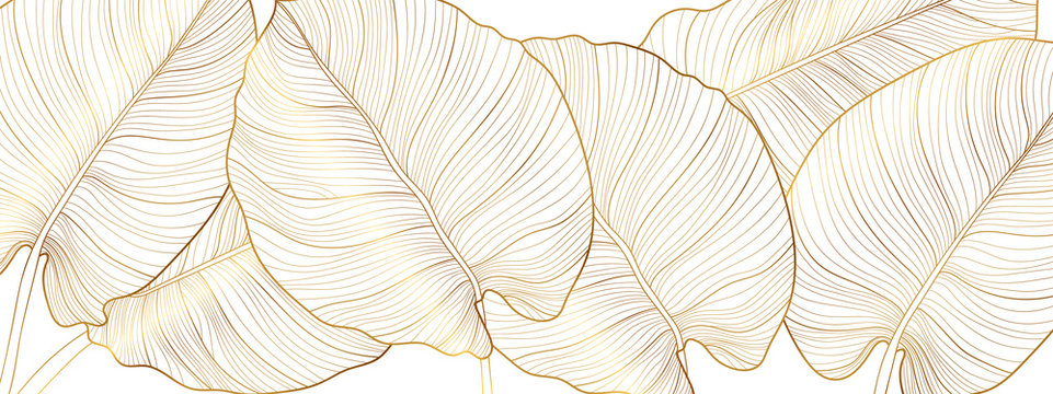 Luxury gold nature background vector. Floral pattern, Golden split-leaf Philodendron plant with monstera plant line arts, Vector illustration.