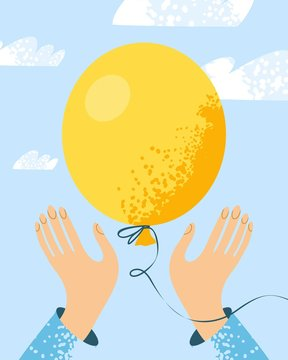 two hands let go of the yellow balloon in the sky is hand drawn on a modern style. Concept banner of ending and letting go of a situation or relationship, detachment. Vector illustration