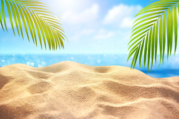 Wall Mural - Tropical fine sandy beach with blured sea background and empty space for product advertisement  Montage of summer relaxation background
