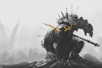 Ancient dead terrible knight warrior. Realistic illustration sketch and background. sketch and background. Dark fantasy angry dark warrior risen from the grave hand drawing. Wall mural