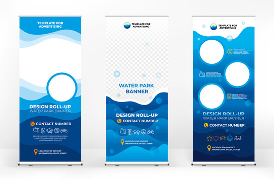 A set of banner design options for water Parks, pool advertising, and water recreation, modern graphic design, wave and relax background