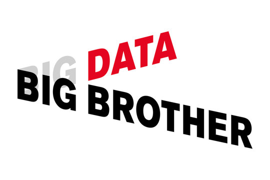 Big Data Big Brother lettering. Words shown in capital letters, distorted and offset, with a three-dimensional effect. Red, gray and black letters. Isolated illustration on white background. Vector.