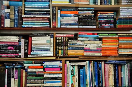 Full Frame Shot Of Books In Bookshelf