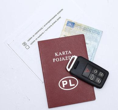 Close up of vehicle card Poland