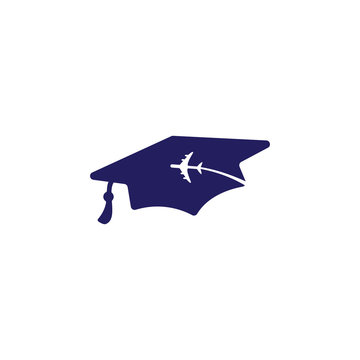 Study abroad vector logo design. Graduation cap and airplane icon.