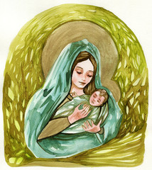 Fotobehang Schilderkunstige Inspiratie Watercolor illustration depicting the Mother of God with little Jesus.