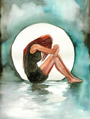 Foto op Canvas Schilderkunstige Inspiratie Watercolor illsutration depicting a sad girl on the background of the moon.