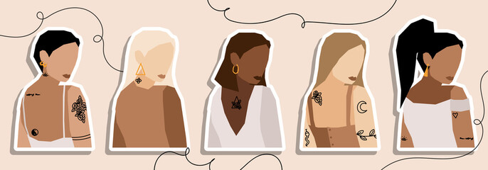 Set of Woman's Face minimalist collage abstract contemporary fashion in a modern trendy colors, vector illustration