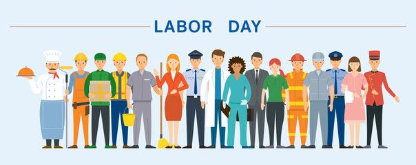 Wall Mural - Group of People Labor, Worker, Career, Professions and Occupations, Labor Day