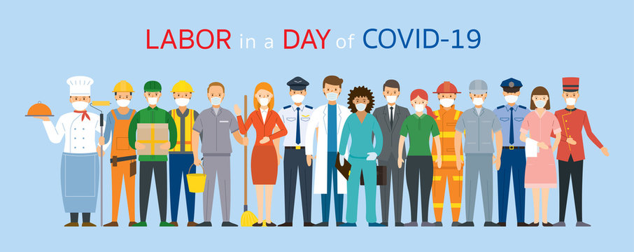 Group of People Labor, Worker Wearing Face Mask, Prevention of Covid-19, Coronavirus Disease,