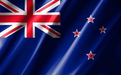 Image of the waving flag New Zealand.