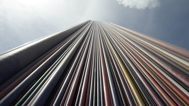 Low Angle View Of Striped Tower Monument At La Defense