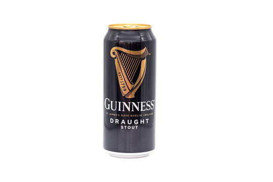 BERLIN - APR 23: Can of Guinness draught Irish beer isolated on white background in Berlin on April 23. 2020 in Germany