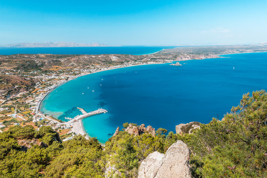 Overview, panorama of Kos island, Dodecanese, Greece