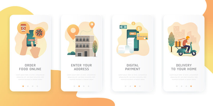 Onboarding screens design in food delivery concept. Order food on line banners, mobile application design. Order process concept. How to order. Modern and simplified vector illustration.