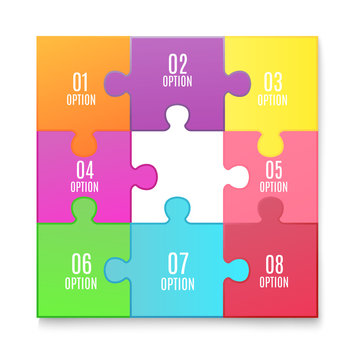 Jigsaw puzzle poster with 8 connected colorful option tiles and missing piece