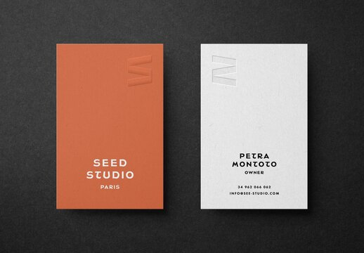 Vertical Business Card with Embossed Logo Mockup