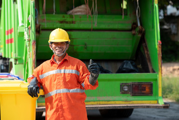 Pictures of Asian municipalities, recycling workers, garbage collection trucks, loading rubbish and bins.