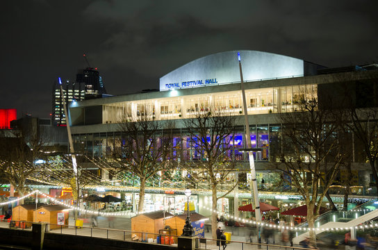 LONDON- Royal Festival Hall at night with illuminating lights, an large theatre and art space on London's South Bank.