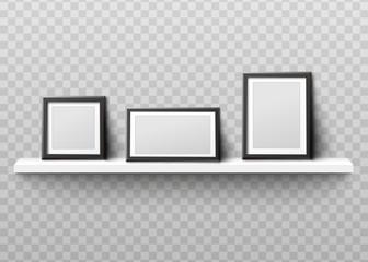 Mockup of photo frames on shelf realistic vector illustration isolated.