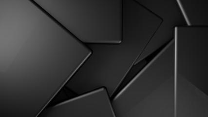 Wall Mural - Dark metal displaced cubes background, 3d render illustration