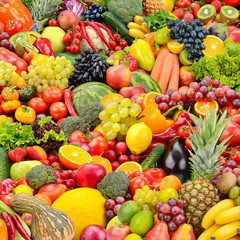 Wall Mural - Bright background for backdrop with healthy fruits and vegetables.