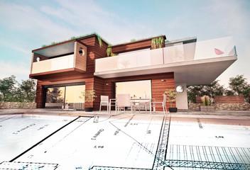 Belle maison moderne d'architecte en bois concept écologie avec plan de conception