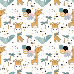Cartoon seamless pattern baby giraffe with balloons. Hand drawn illustration. Jungle animals and background.