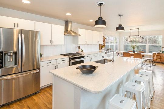 Farm house Kitchen with Big Center Island