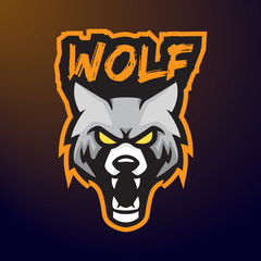 Wolf fang angry e-sport character mascot logo design vector template