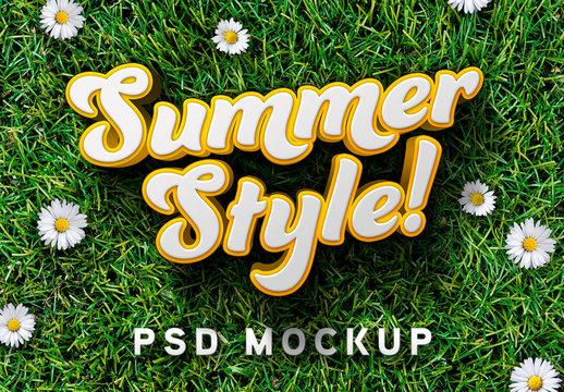 3D Text Effect Mockup with Grass Background