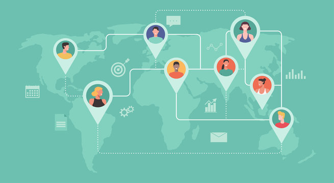 professional people from around the world connecting and working together online, remote working, work from home, work from anywhere, new normal, symbol icon vector flat illustration