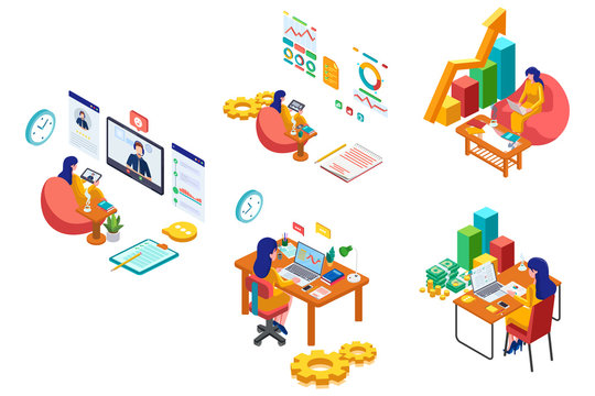 Set of Business woman activity. Business management with isometric illustration. Female with Computer, infographic, computer. Technology analysis system. Vector