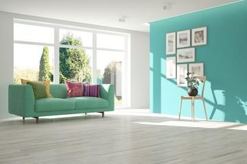 Foto auf AluDibond Licht blau White living room with sofa and summer landscape in window. Scandinavian interior design. 3D illustration