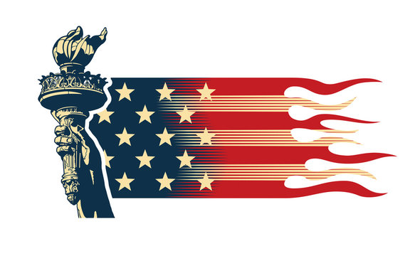 USA patriotic concept with statue of Liberty torch and American flag elements, vector illustration in retro style colors.