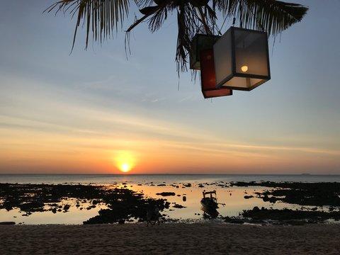 Sunset on the beach of Koh Lanta, Thailand