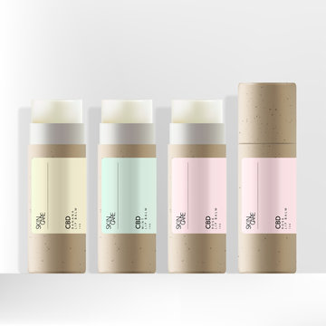 Vector Recycled Kraft Paper CBD Lip Balm Packaging with Minimal Pastel Label Design