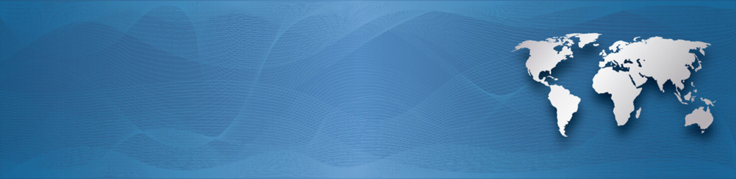silver world map on blue gradient background with abstract waves lines