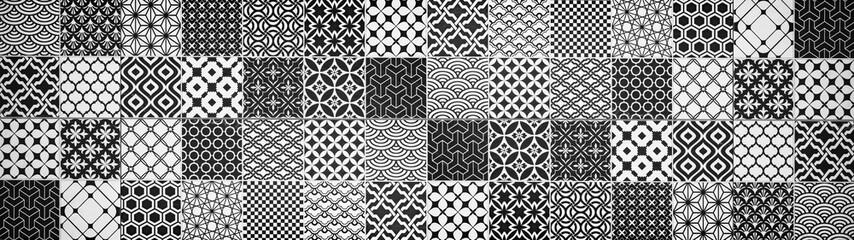 Gray white anthracite black vintage retro geometric square mosaic motif cement tiles texture background banner panorama