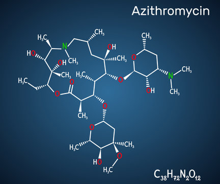 Azithromycin molecule. It is macrolide antibiotic. Сombination of azithromycin and antimalarial drug hydroxychloroquine is used to treat COVID-19. Structural chemical formula