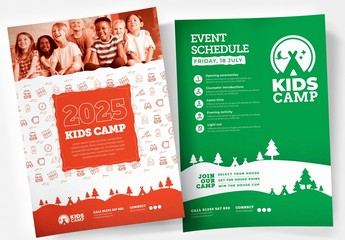 Kids Camping Poster Layout with Outdoor Activity Icons