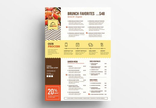 Catering Service Menu Layout with Delivery Icons