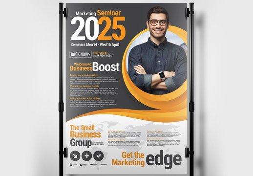 Business Seminar Poster Banner Layout with Orange Swash