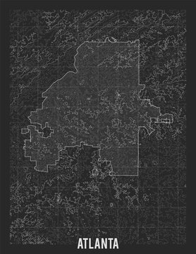 City map of Atlanta. Vector elevation map of town. Generated conceptual surface relief map. Detailed geographic elegant landscape scheme. Topographic outline poster.