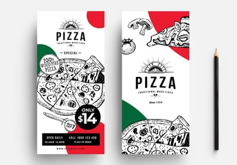 Pizza Menu  Flyer Layout with Line Art Illustrations