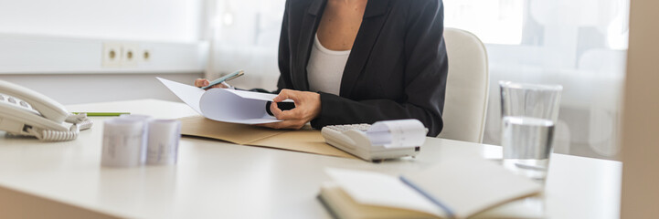Female business consultant working at her desk