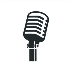 Microphone icon isolated on white background. Microphone icon in trendy design style. Microphone vector icon modern and simple flat symbol for web site, mobile, logo, app, UI.